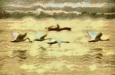 Flying Swans Print by Odon Czintos