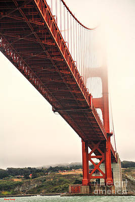 Fog Lifting At The Golden Gate Print by Cheryl Young