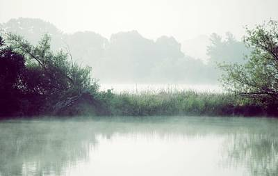 Nature Photograph - Fog On Lake Sinissippi Wisconsin  by Laura Pineda
