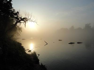 Fog On The White River Print by Heather Owen
