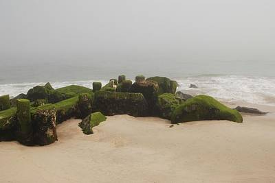 Fog Sits On Bay Head Beach II- Jersey Shore Print by Angie Tirado