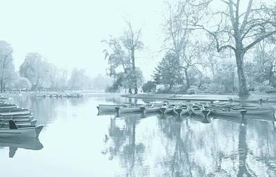 Canoe Mixed Media - Foggy Morning Bois De Vincennes by Louise Fahy