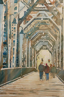 Foggy Morning On The Railway Bridge One Print by Jenny Armitage