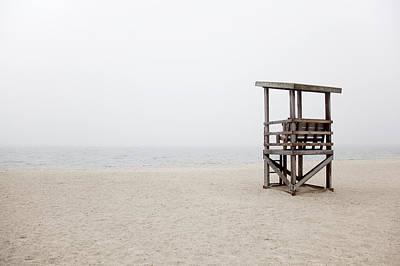Foggy New England Beach Print by Jenna Szerlag