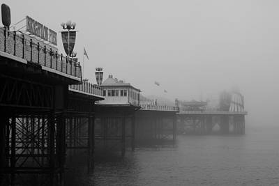 Helter-skelter Photograph - Foggy Pier - Mono by Rosie Herbert