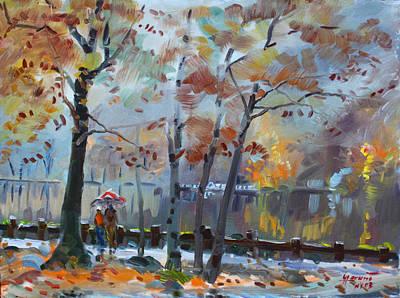 Foggy Rain By The Lake Print by Ylli Haruni