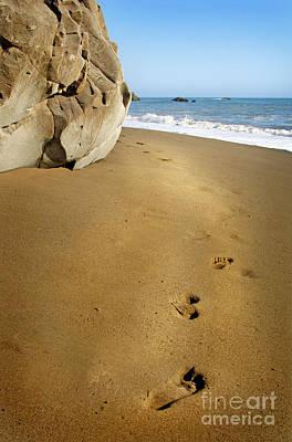 Footprints In The Sand Print by Jill Battaglia