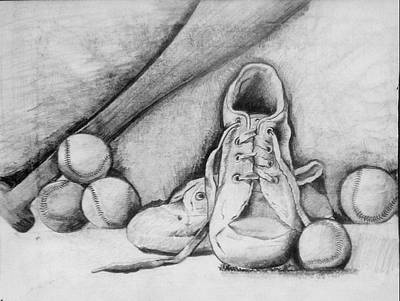 Tennis Shoe Drawing - For The Love Of Baseball by Shelbi Ummel