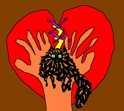Hands Of Love Drawing - For Zsa Zsa by Anita Dale Livaditis