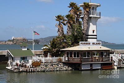 Forbes Island Restaurant With Alcatraz Island In The Background . San Francisco California . 7d14261 Print by Wingsdomain Art and Photography