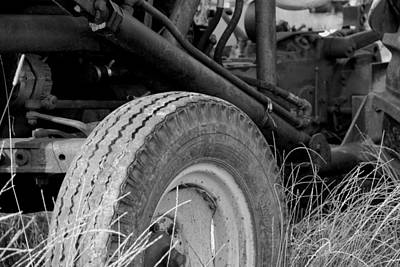 Ford Tractor Details In Black And White Print by Jennifer Ancker
