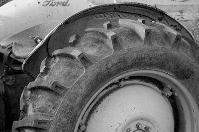 Ford Tractor In Black And White Print by Jennifer Ancker