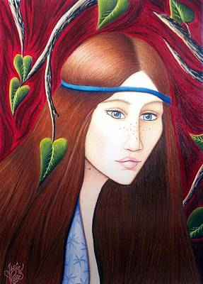 Sad Girl Drawing Drawing - Forest Fire by Danielle R T Haney