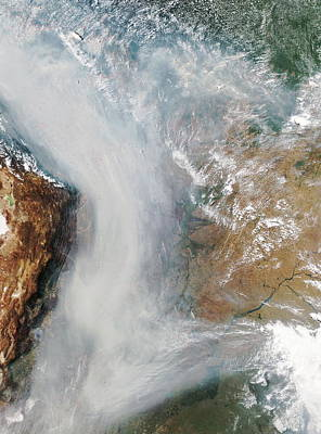 Forest Fires In South America Print by Nasa
