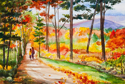 Forever Autumn Watercolor Painting Print by Michelle Wiarda