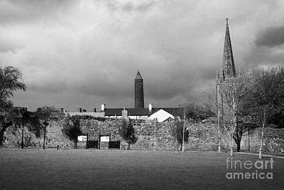 Former Castle And Bishops Palace And Workhouse Site With Cathedral And Round Tower Killala Print by Joe Fox