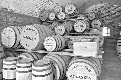 Fort Macon Food Supplies Bw 9070 3759 Print by Michael Peychich