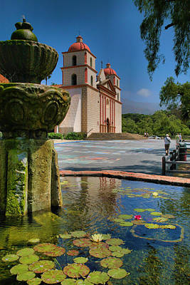 Adobe Church Photograph - Fountain And Mission by Steven Ainsworth