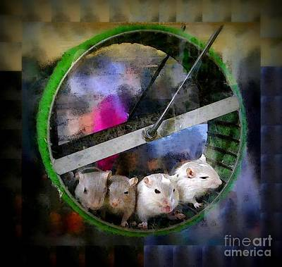 Gerbil Digital Art - Four Baby Gerbils On Wheel by Renee Trenholm