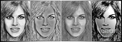 Mccombie Mixed Media - Four Interpretations Of Hilary Swank by J McCombie