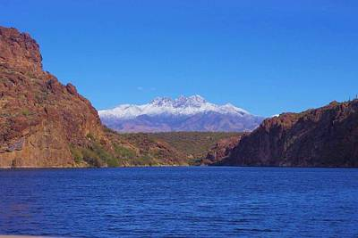 Four Peaks In Winter Print by David Rizzo