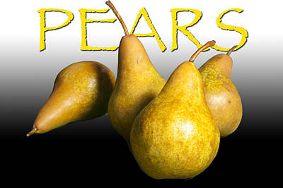 Four Pears With Yellow Lettering Print by Randall Nyhof