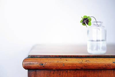 Water Jars Photograph - Fourleaf Cloverin Vase On Dresser by Elisabeth Schmitt