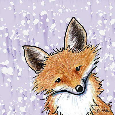 Fox On Lavender Print by Kim Niles