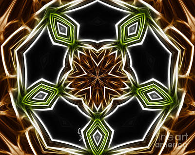 Green And Brown Photograph - Fractal Kaleidoscope by Cheryl Young