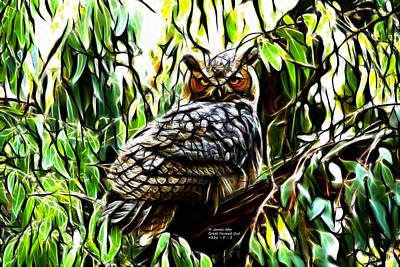 Fractal-s -great Horned Owl - 4336 Print by James Ahn