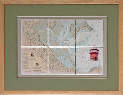Framed Plymouth Bay With Lighthouse Tile Set Original by P Anthony Visco