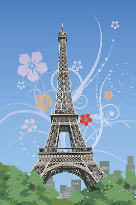 France, Paris, Eiffel Tower, Capital Cities Print by IMAGEMORE Co, Ltd.