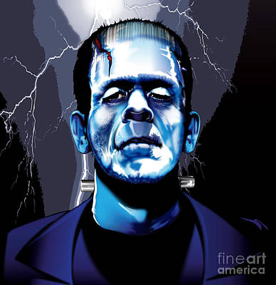 Frankenstein Drawing - Frank by Brian Gibbs
