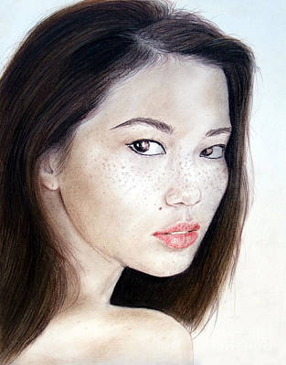 Freckle Faced Asian Model Print by Jim Fitzpatrick