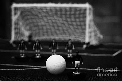 Free Kick With Wall Of Players Football Soccer Scene Reinacted With Subbuteo Table Top Football  Print by Joe Fox