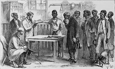 Freedmen At A Voter Registration Print by Everett