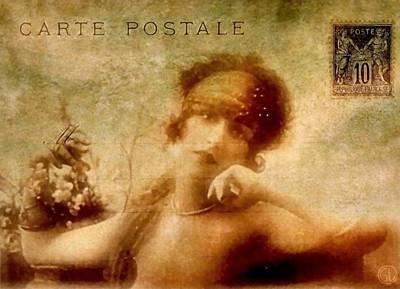 Woman Digital Art - French Postcard by Gun Legler