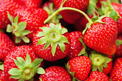 Fresh Strawberries Print by Marta Holka