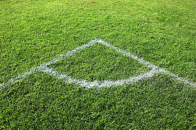 Freshly Painted Corner Area On Grass Print by Richard Newstead