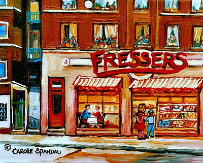 Store Fronts Painting - Fressers Deli Decarie Boulevard Montreal City Scenes by Carole Spandau