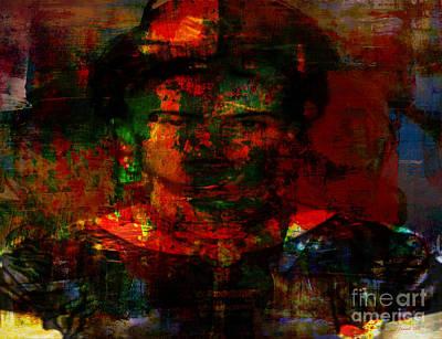 Frida In Mixed Media Print by Fania Simon