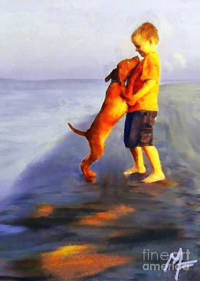 Dog Painting - Friendship by Dragica  Micki Fortuna