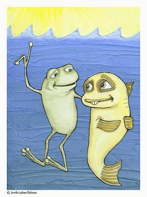 Optimistic Drawing - Frog And Fish  by Jennifer Latham Robinson