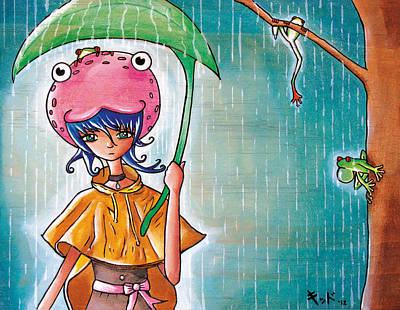 Frog Girl Print by Jen Kiddo