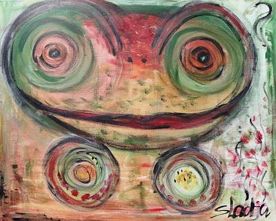 Animals Painting - Frog Is In The House by Sladjana Lazarevic