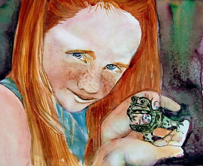 Red Head Mixed Media - Frogella by Mindy Newman