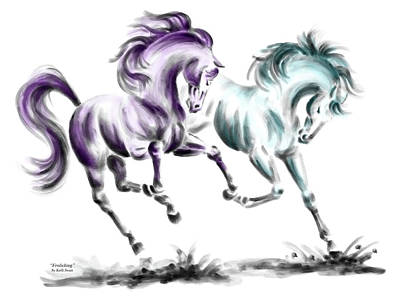 Draft Horses Drawing - Frolicking - Wild Horses Print Color Tinted by Kelli Swan