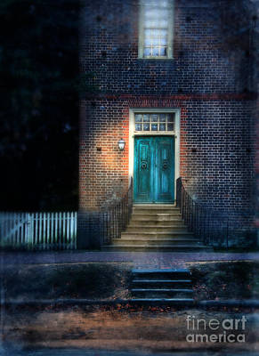Front Entrance To A Brick Home At Night Print by Jill Battaglia