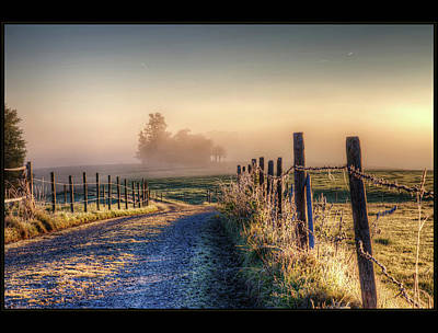 Frosty Fence Print by LASER Lovelyness Amplificated Saturated Editing of Radiance