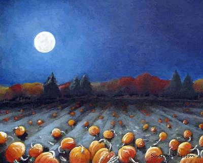 Frosty Harvest Moon Print by Sharon Marcella Marston